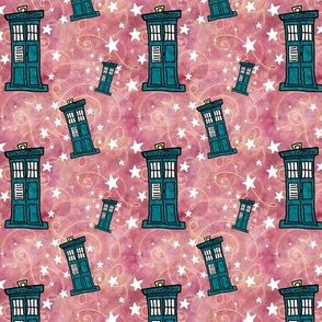 Project 330 | Police Boxes on Watercolor | Strawberry Pink with Gold Swirls
