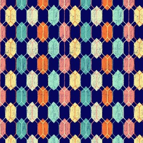 Midcentury Modern Argyle Hexagons on Navy