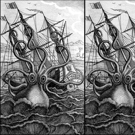 sailing boats ships nautical sea ocean waves yacht kraken monsters octopus squids animals birds trees mountains huts vintage antiques  monochrome black white fabric by raveneve on Spoonflower - custom fabric