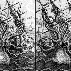 sailing boats ships nautical sea ocean waves yacht kraken monsters octopus squids animals birds trees mountains huts vintage antiques  monochrome black white