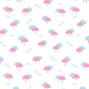 Miami beach summer series waves pastel parasol blue pink