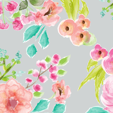bright and cheery floral gray fabric by tiffinyhdesigns on Spoonflower - custom fabric