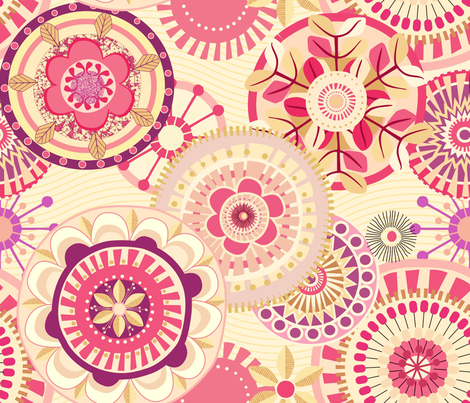 Folk Mandalas_vintage_pink_ fabric by chicca_besso on Spoonflower - custom fabric