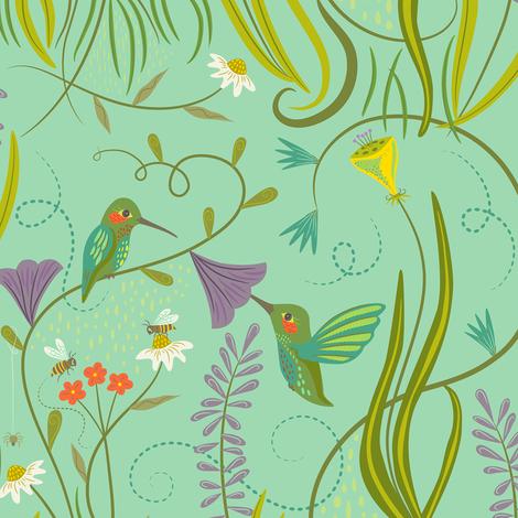 Hummingbirds_on_Sea_Foam_Green fabric by johannaparkerdesign on Spoonflower - custom fabric