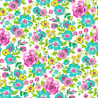 Ditsy Flowers Floral with Pink Tiny Small