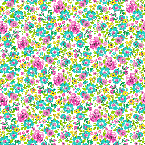 Ditsy Flowers Floral with Pink Tiny Small fabric by caja_design on Spoonflower - custom fabric