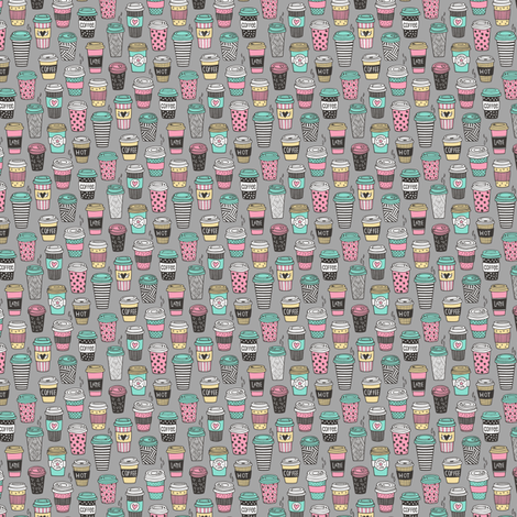 Coffee Latte Geometric Patterned Black & White Pink Mint Yellow on Grey Tiny Small fabric by caja_design on Spoonflower - custom fabric