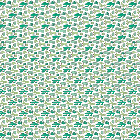Cactus on White Tiny small Rotated fabric by caja_design on Spoonflower - custom fabric