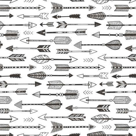 Arrows in Black&White Smaller & Rotated fabric by caja_design on Spoonflower - custom fabric