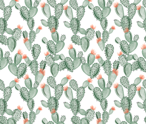 green paddle cactus + rose fabric by ivieclothco on Spoonflower - custom fabric