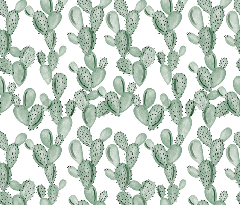 green paddle cactus fabric by ivieclothco on Spoonflower - custom fabric