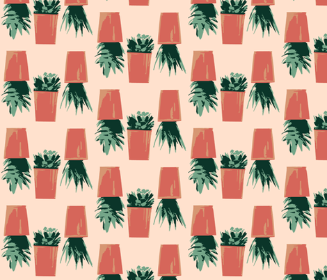 Succulents In Pots fabric by mammajamma on Spoonflower - custom fabric