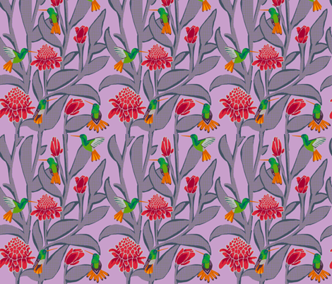 hummingbirds + torch ginger [orchid] fabric by kheckart on Spoonflower - custom fabric