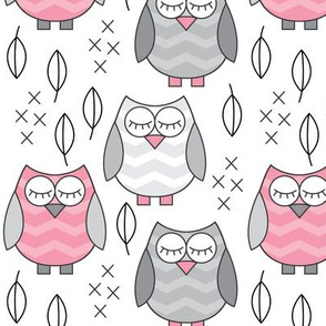 pink and grey sleeping owls