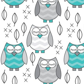 teal and grey sleeping owls
