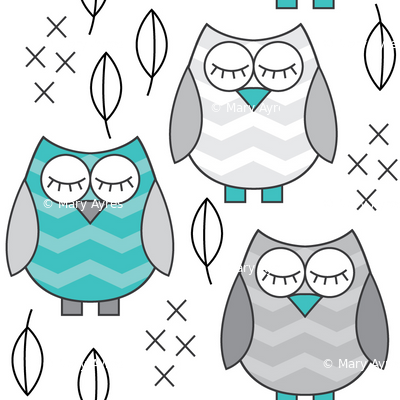 small teal and grey sleeping owls