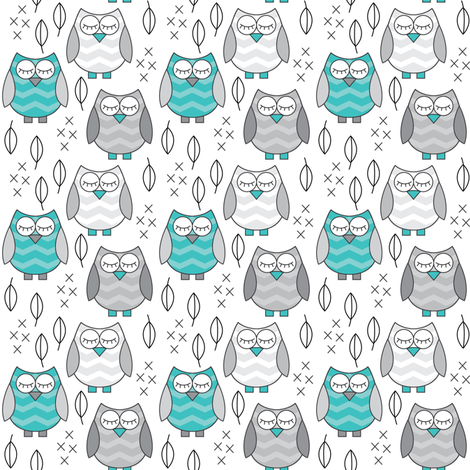 small teal and grey sleeping owls fabric by lilcubby on Spoonflower - custom fabric