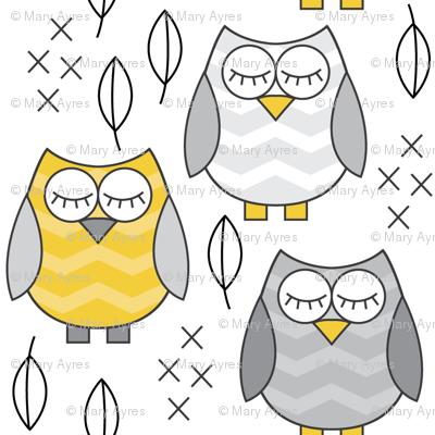 gold and grey sleeping owls