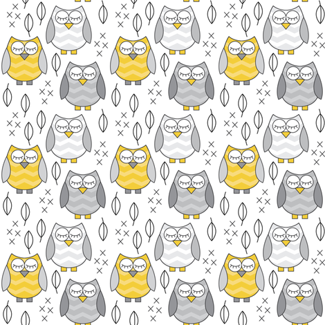 small gold and grey sleeping owls fabric by lilcubby on Spoonflower - custom fabric