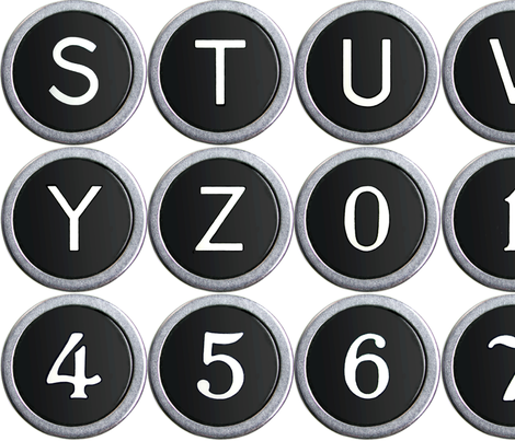 Old School Typewriter Keys - large fabric by rawbonestudio on Spoonflower - custom fabric