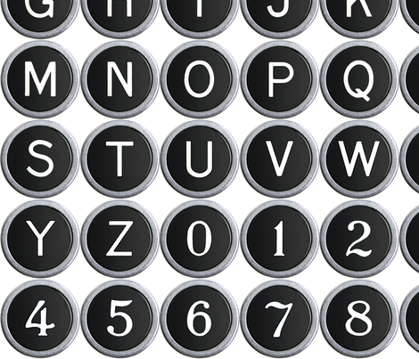 Old School Typewriter Keys - medium fabric by rawbonestudio on Spoonflower - custom fabric