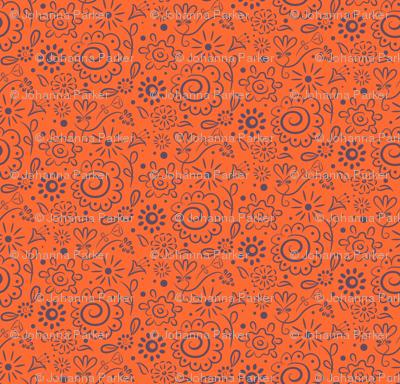 Wild_Floral_doodle_lilac_on_orange