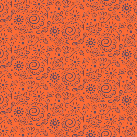 Wild_Floral_doodle_lilac_on_orange fabric by johannaparkerdesign on Spoonflower - custom fabric