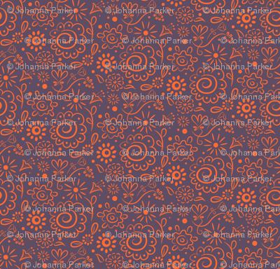 Wild_Floral_doodle_orange_on_lilac
