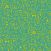 Wild_Floral_doodle_chartreuse_on_turquoise
