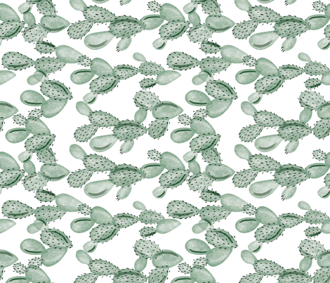 green paddle cactus // rotated fabric by ivieclothco on Spoonflower - custom fabric