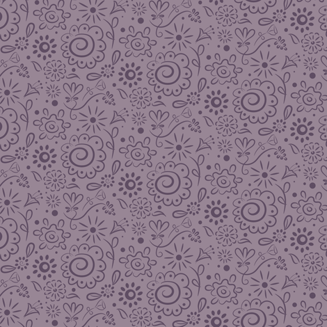 Wild_Floral_doodle_double_lilac fabric by johannaparkerdesign on Spoonflower - custom fabric