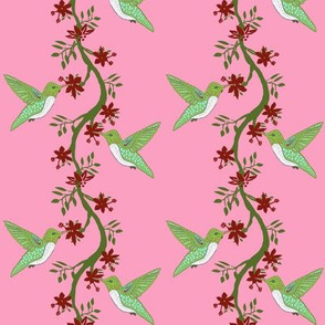 pink humming birds and vines