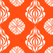 EASTERN FLORAL ABSTRACT Clear Orange