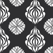 EASTERN FLORAL ABSTRACT Black & White