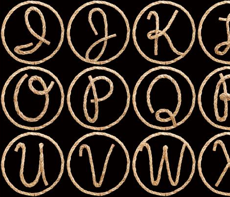 Lasso Alphabet - large fabric by rawbonestudio on Spoonflower - custom fabric