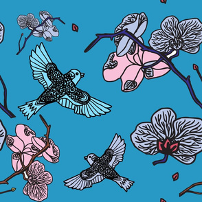birds and pink bloom over blue
