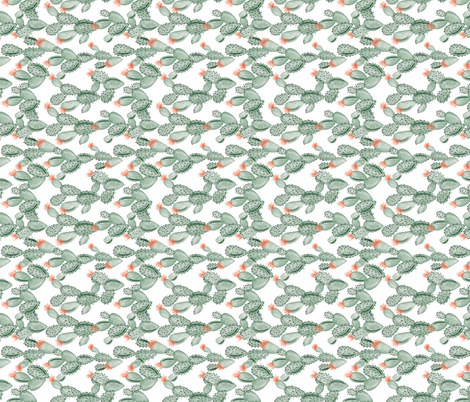 green paddle cactus + rose // small // rotated fabric by ivieclothco on Spoonflower - custom fabric