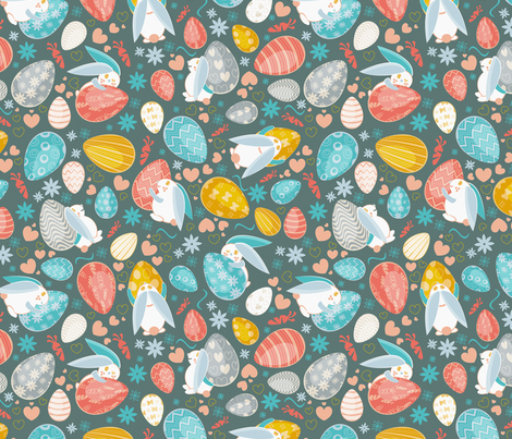 Busy easter bunnies 6 fabric by selmacardoso on Spoonflower - custom fabric