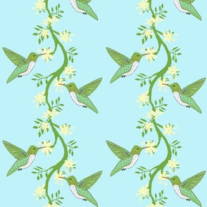 Hummingbird & Vine Blue Stripe
