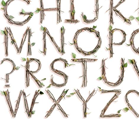 3D Twigs Alphabet - medium fabric by rawbonestudio on Spoonflower - custom fabric