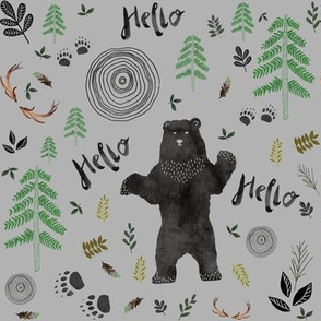"8"" Hello Woodland Watercolor Bear - Dark Grey"