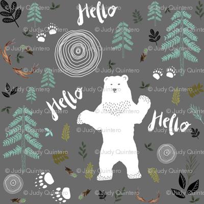 "8"" Hello Woodland Bear / White & Light Green"