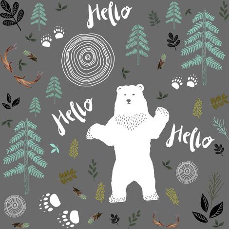 "8"" Hello Woodland Bear / White & Light Green fabric by shopcabin on Spoonflower - custom fabric"