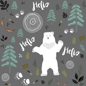 "8"" Hello Woodland Bear / White & Light Green"
