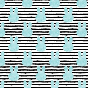 light blue bunnies on stripes (small scale)