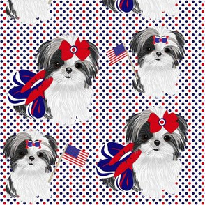 Shih Tzu - Red White & Blue