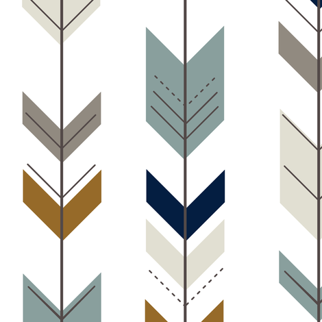 fletching arrows (med scale) - young and brave with navy  fabric by littlearrowdesign on Spoonflower - custom fabric