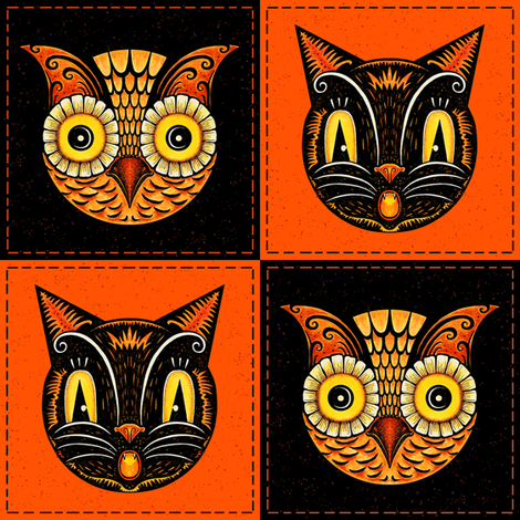 Halloween_Cat_Owl_checkerboard fabric by johannaparkerdesign on Spoonflower - custom fabric