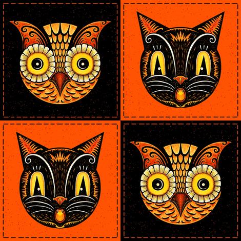 Halloween_Cat_Owl_checkerboard fabric by johannaparkerdesign on Spoonflower - custom fabric