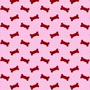 Pink gingham with bones - Matching fabric